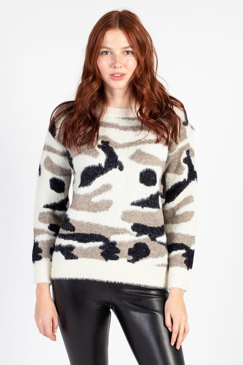 Eyelash Knit Camo Sweater