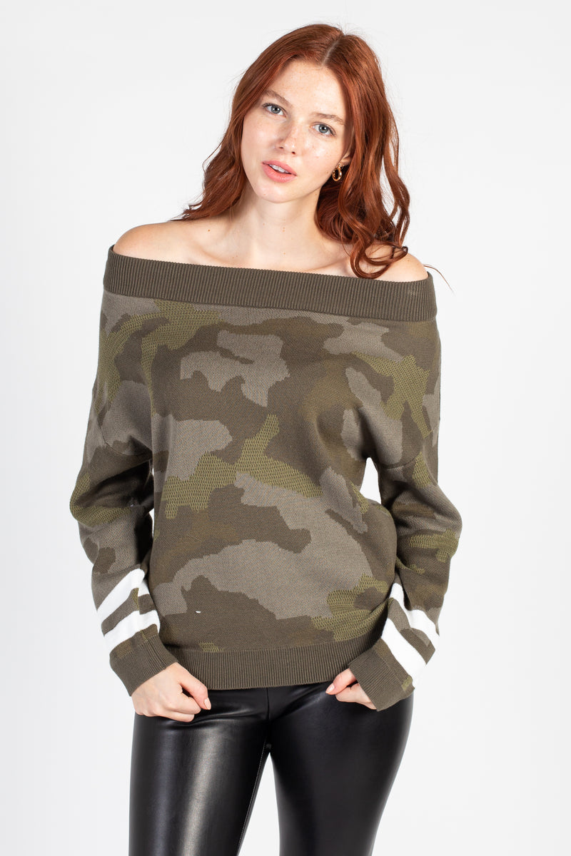 Off The Shoulder Striped Camo Sweater