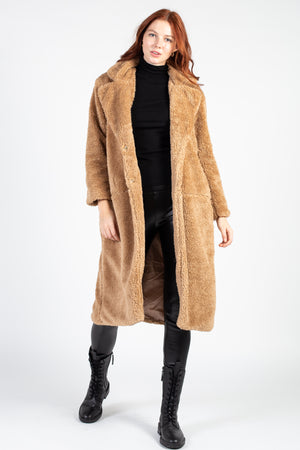 Textured Oversize Teddy Coat - honey