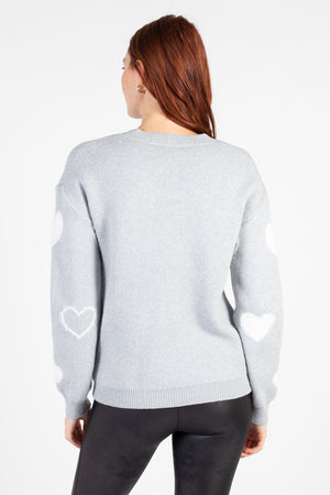 Aniya Fuzzy Hearts Sweater - honey
