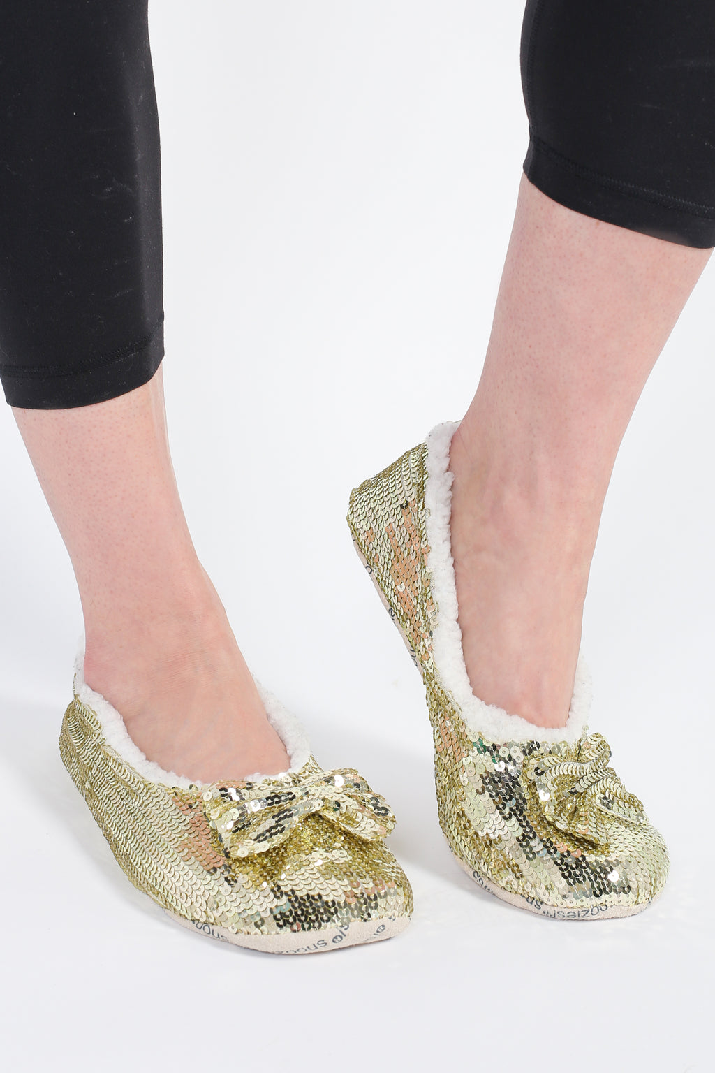 Sequin Ballerina Slippers with Bow - honey