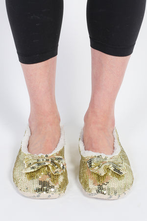 Sequin Ballerina Slippers with Bow