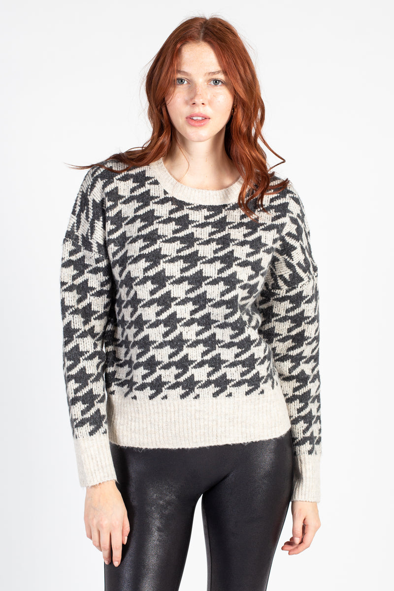 Houndstooth Knit Sweater