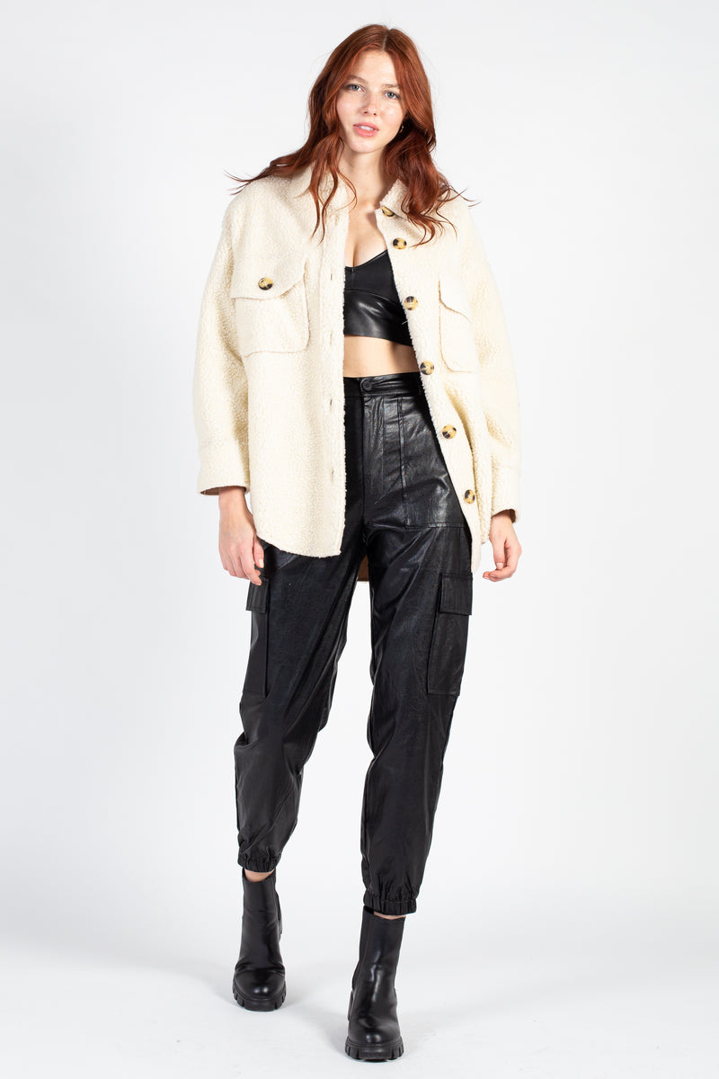 Collared Teddy Shirt Jacket - honey