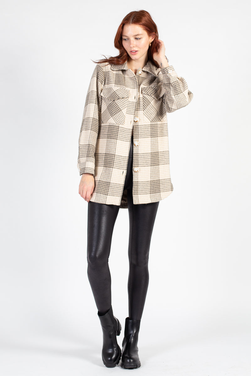 Collared Glencheck Shirt Jacket - honey