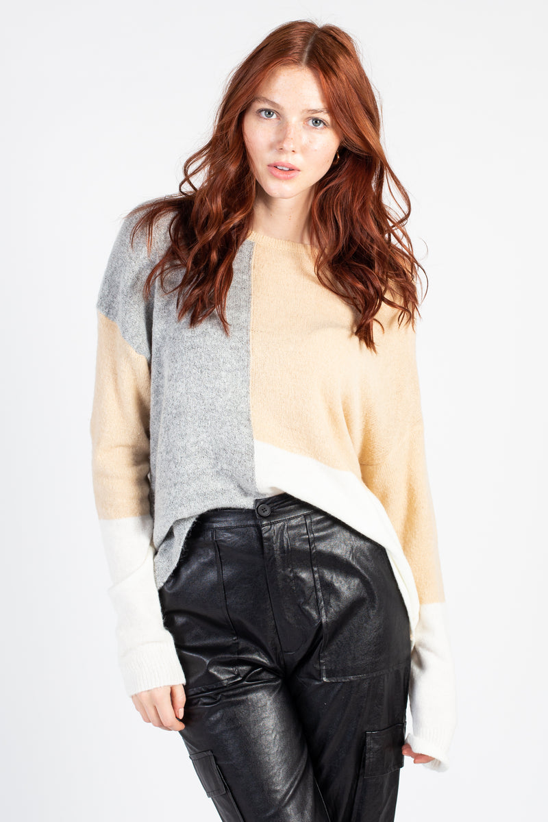 Colourblock Boxy Sweater - honey