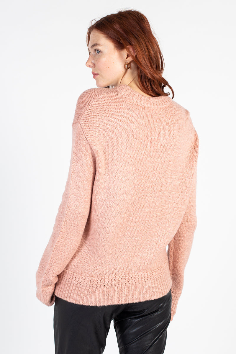 Braided Details Knit Sweater - honey