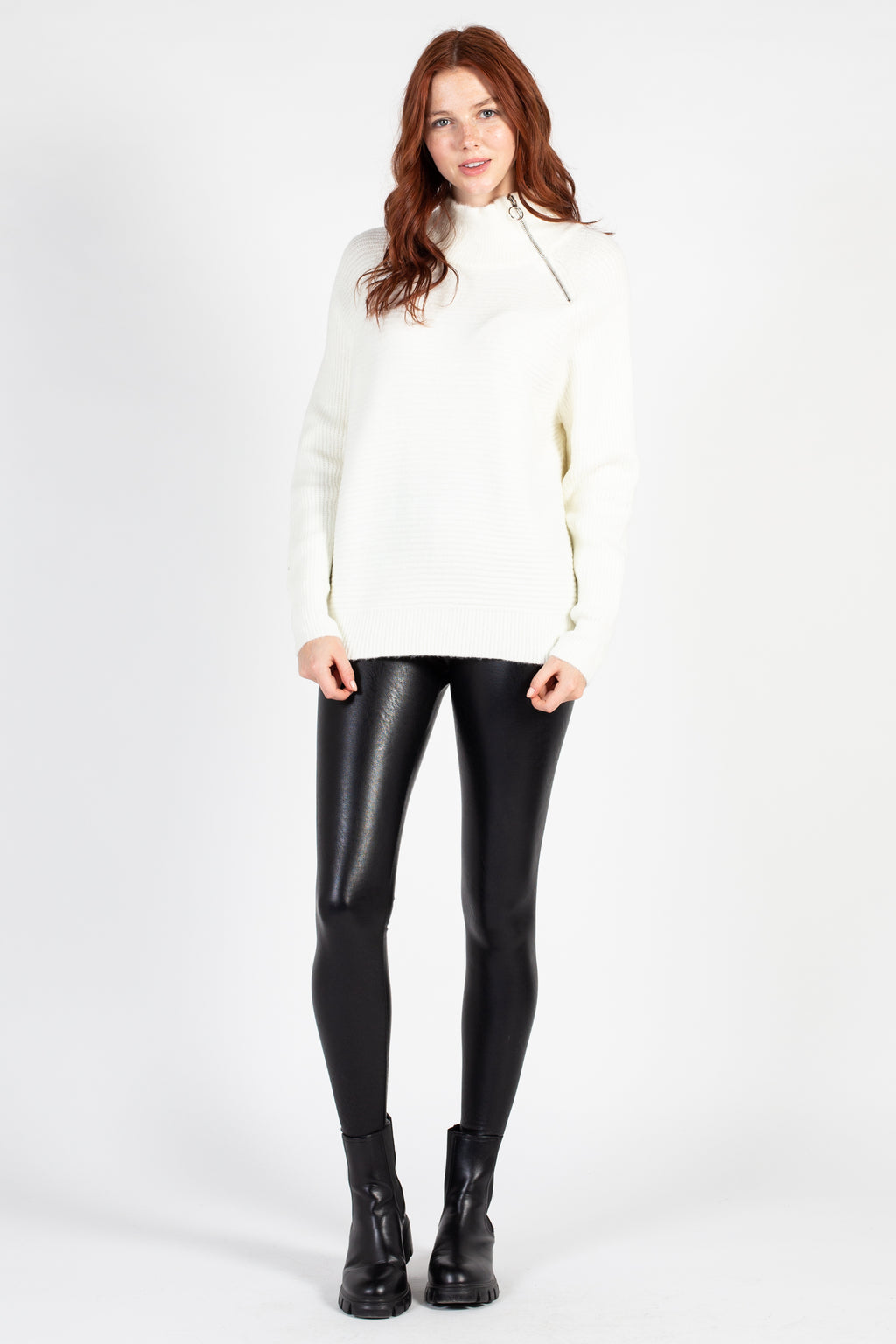 Assymetrical Zip Mock Neck Sweater