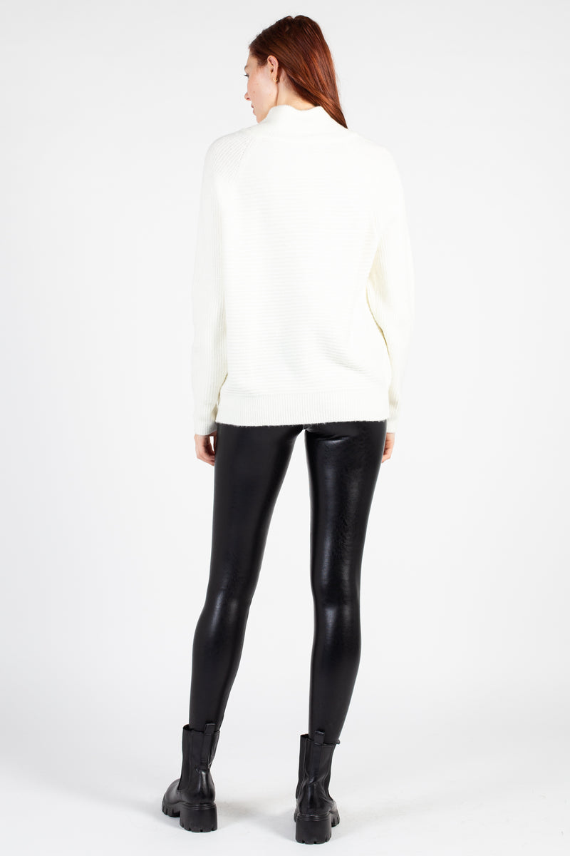 Assymetrical Zip Mock Neck Sweater - honey