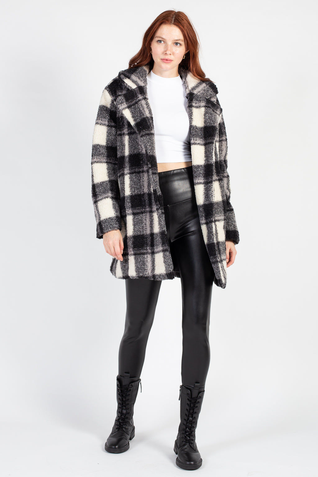 Collared Plaid Teddy Jacket