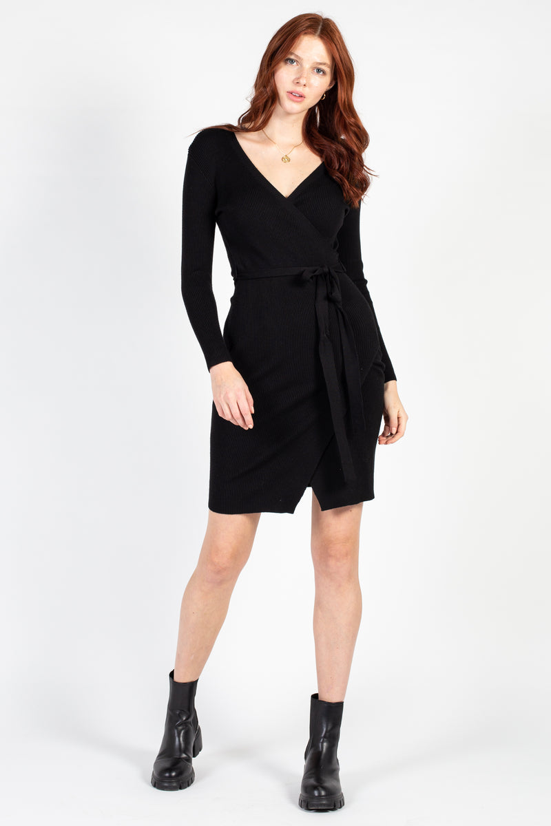 Ribbed Knit Wrap Mini Dress