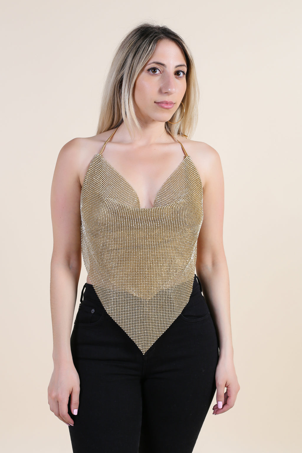 Backless Halterneck Rhinestone Top