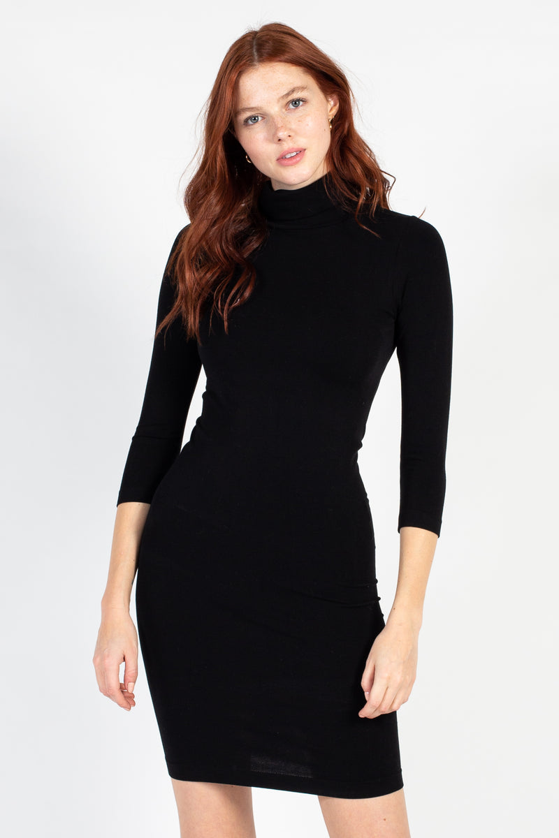 Bamboo Turtleneck Dress - honey