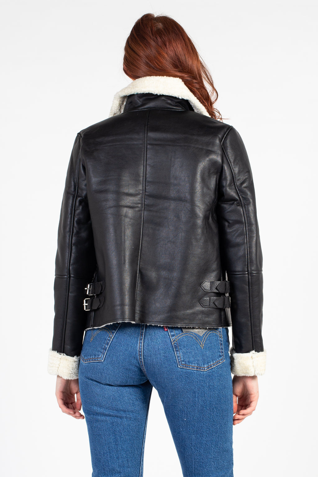 Collared Vegan Leather Sherpa Jacket
