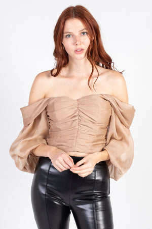 Off The Shoulder Ruched Blouse