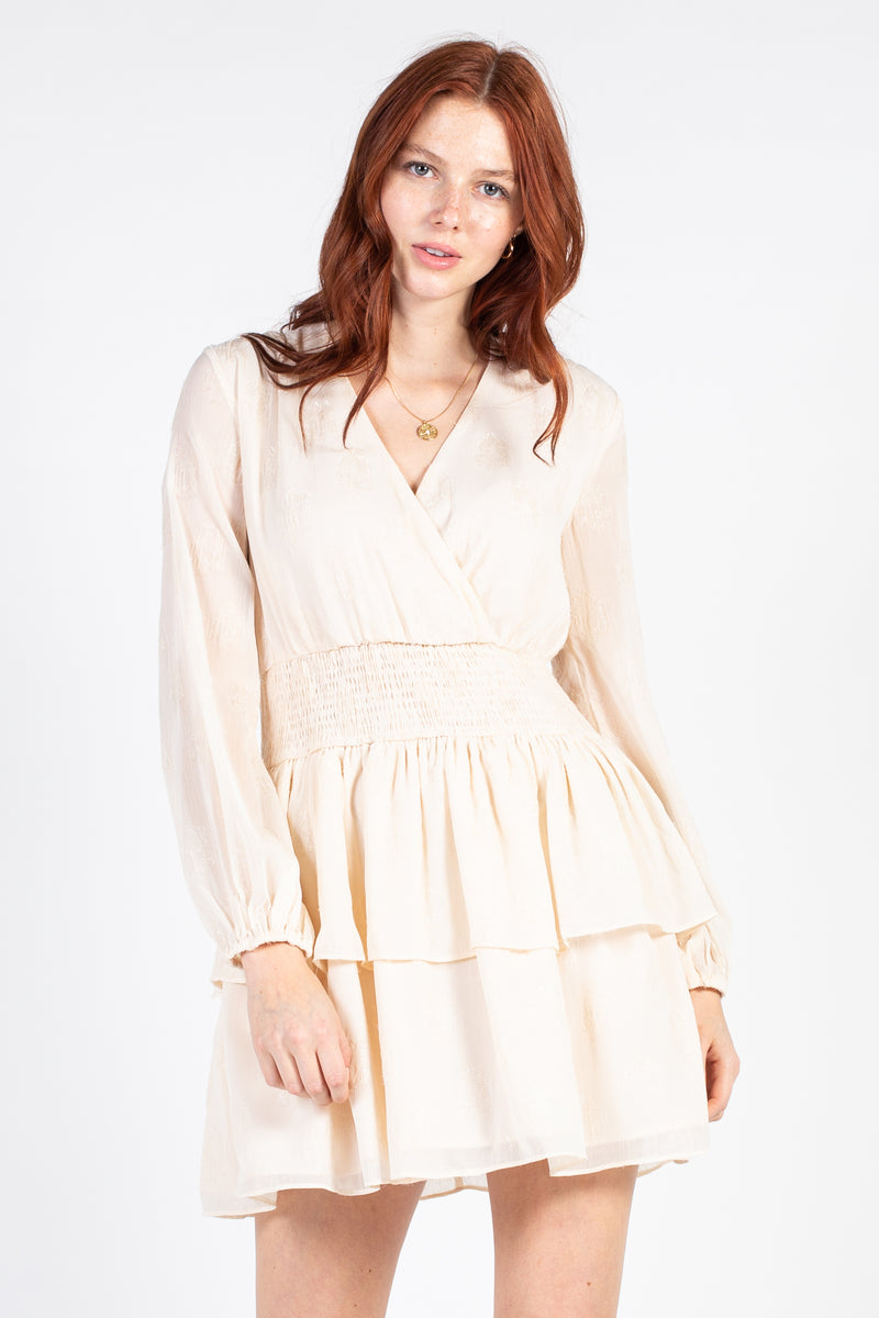 Lurex Dot Smock Waist Mini Dress - honey