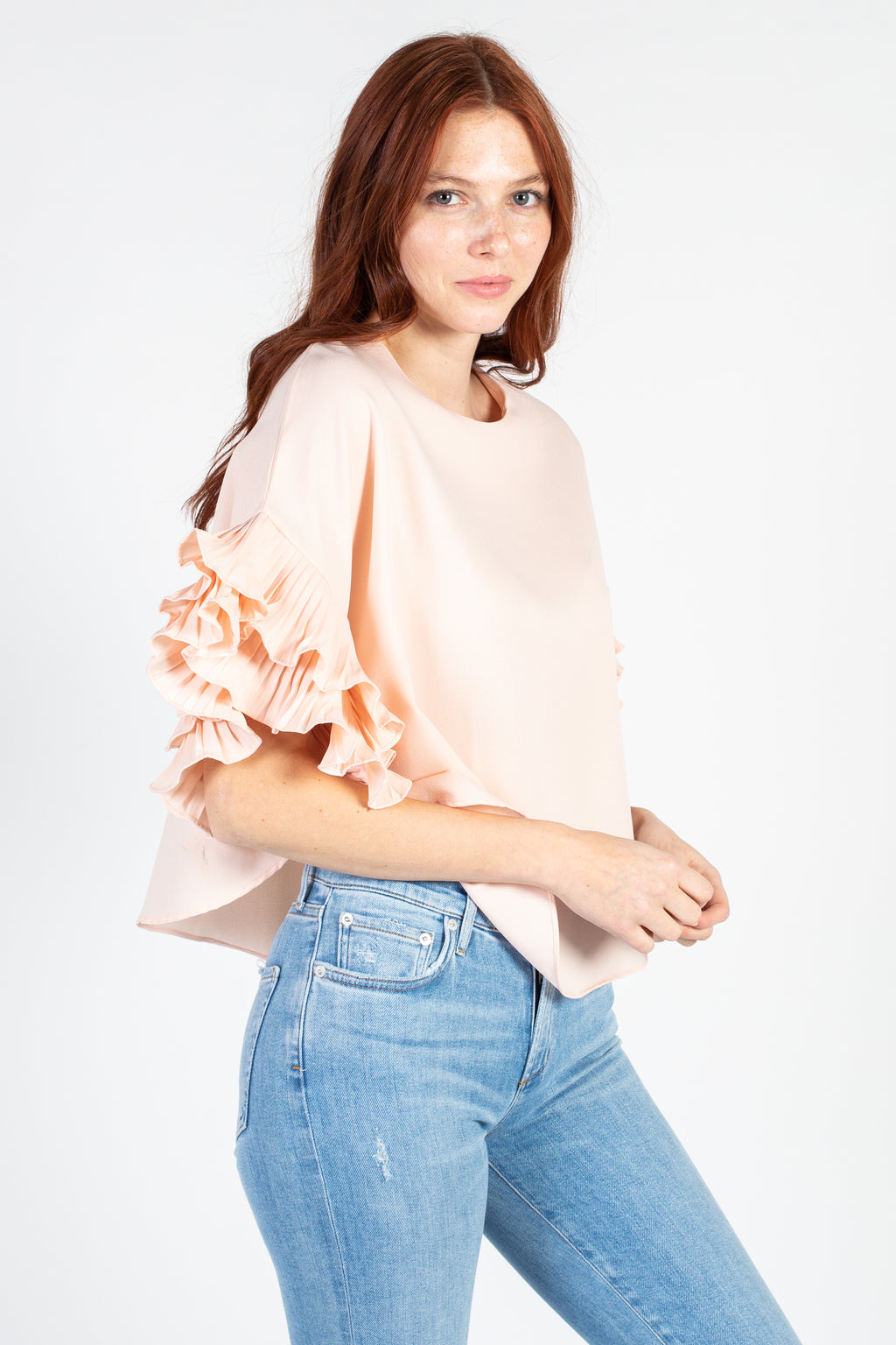 Pleated Flutter Sleeve Blouse - honey