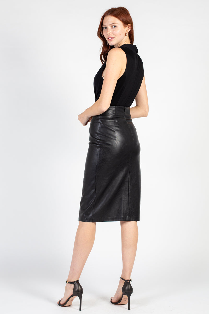Side Slit Vegan Leather Midi Skirt