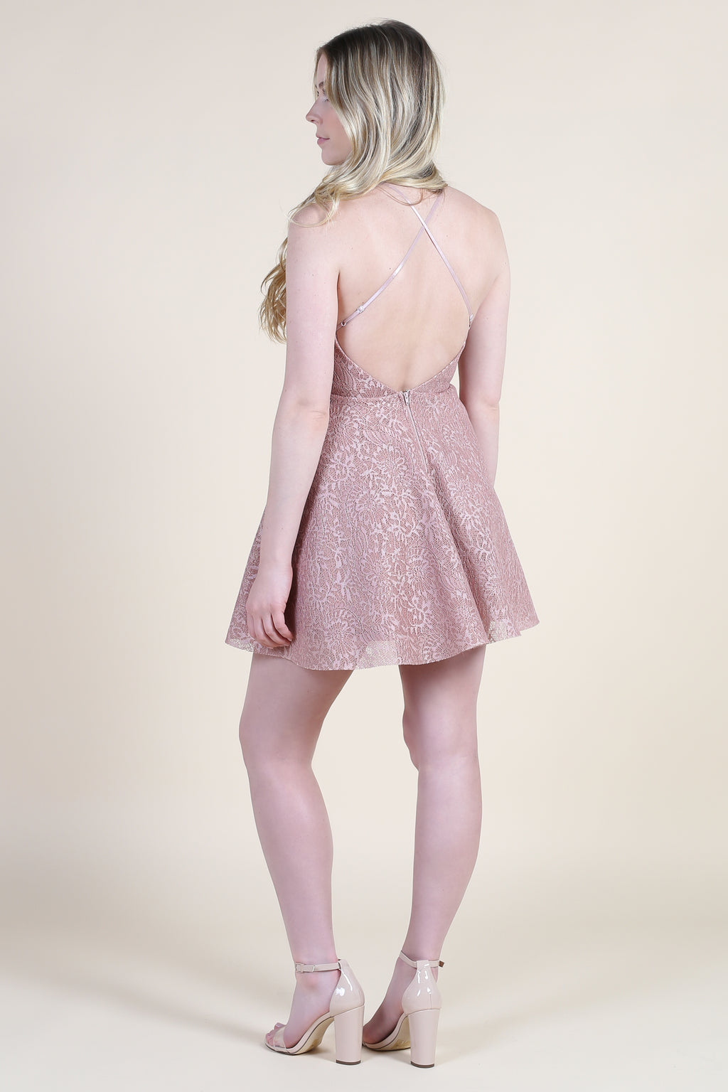 Dance All Night Lace Mini Dress - honey