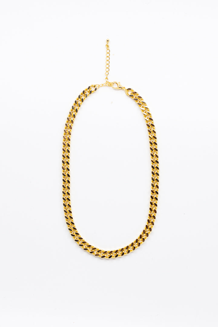 Flat Gold Chain Necklace - honey