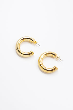 Chunky Tube Hoop Earrings - honey