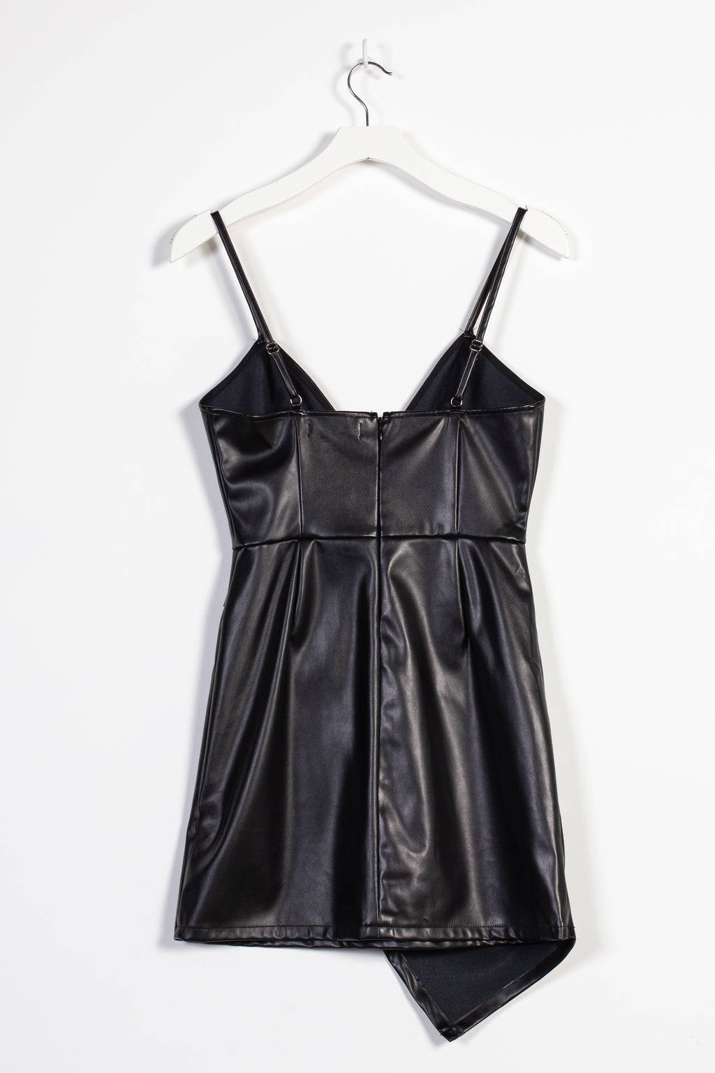 Asymmetrical Vegan Leather Mini Dress - honey