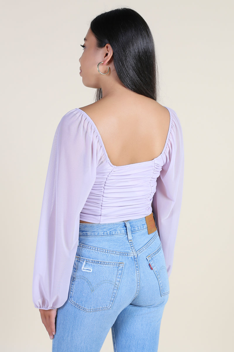 Jane Mesh Ruched Crop Top