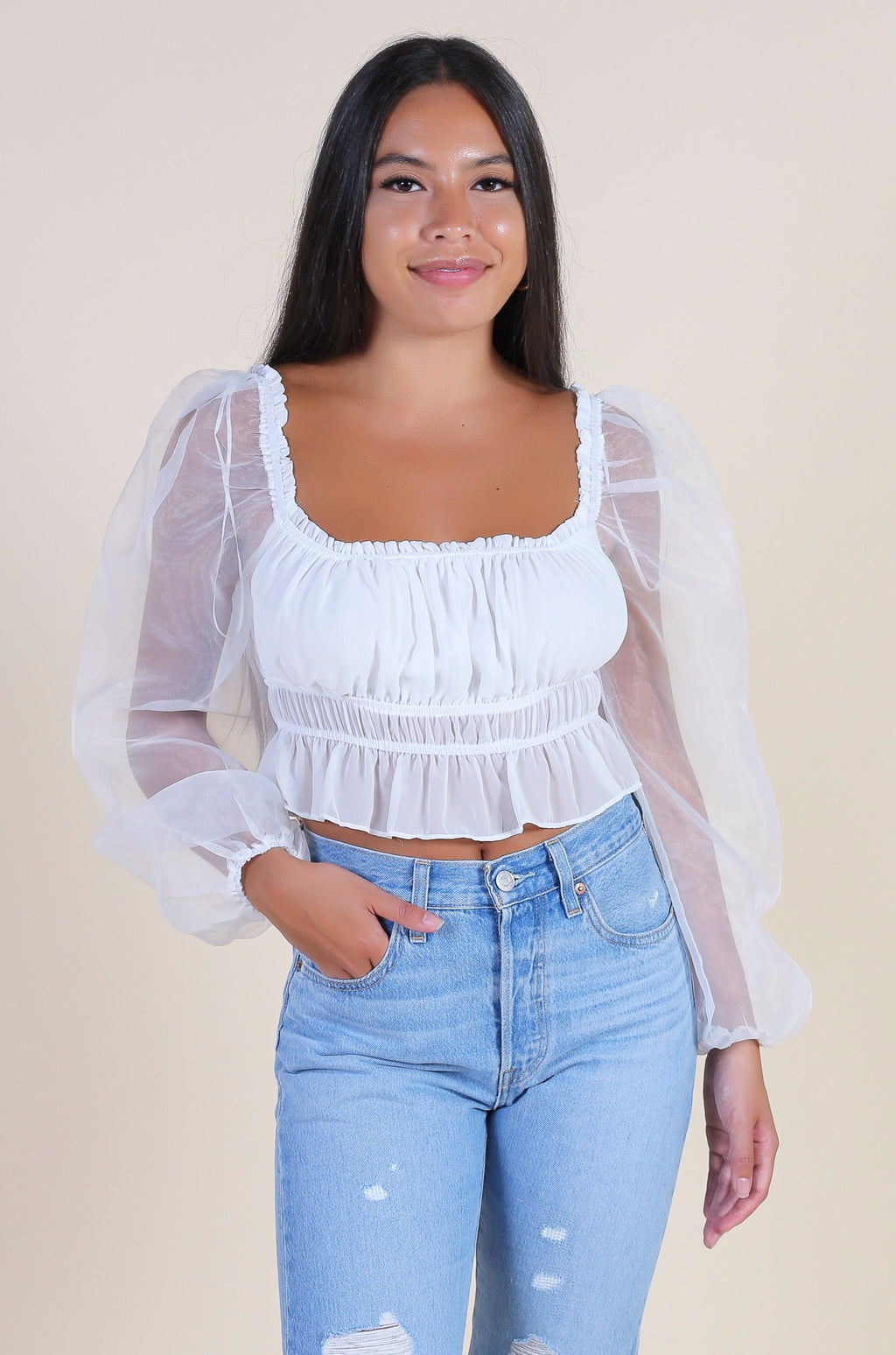 Day Dreamer Organza Crop Blouse