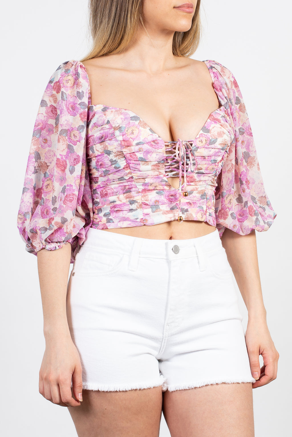 Josie Cropped Floral Tie Front Blouse - honey