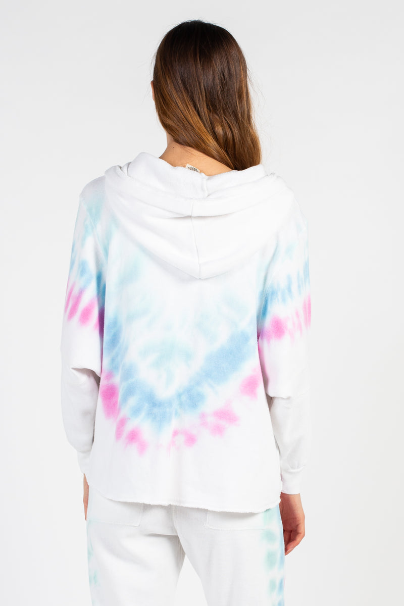 Bright Tie Dye Dolman Sleeve Hoodie - honey