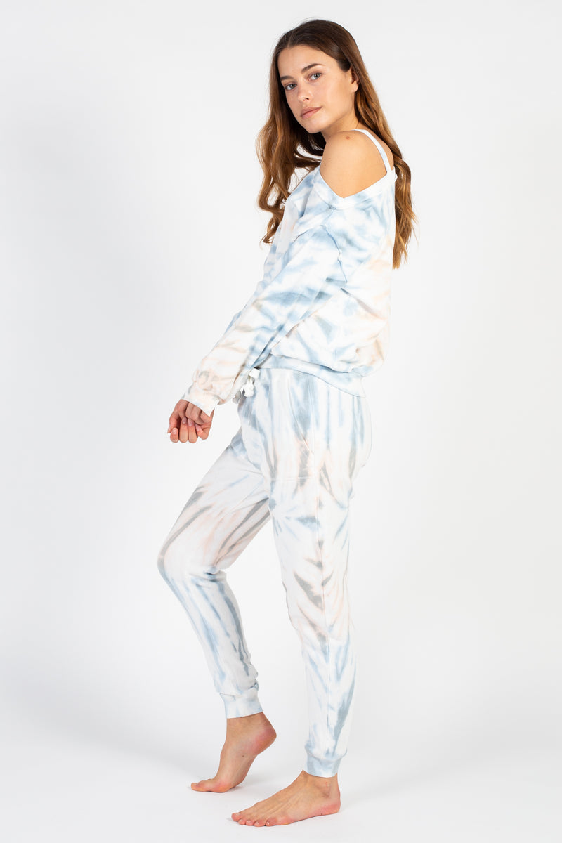 Breezy Beach Tie Dye Burnout Joggers - honey