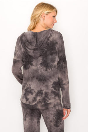 Washed Tie Dye Pullover Hoodie - honey