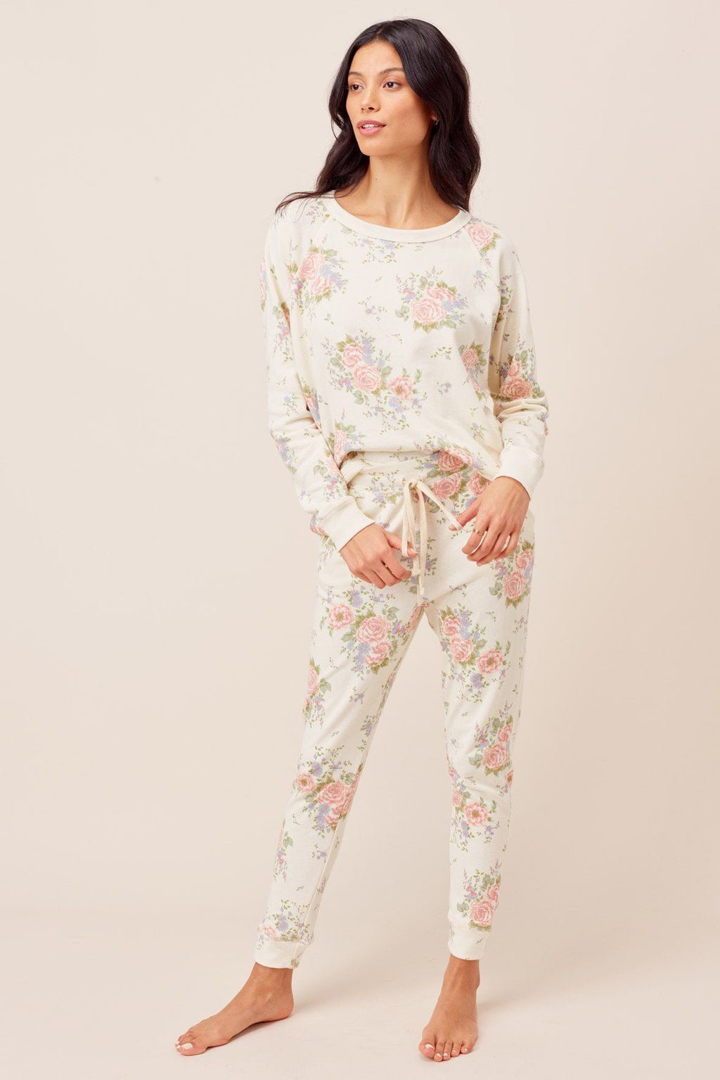 Floral Flat Pocket Sweatpants - honey