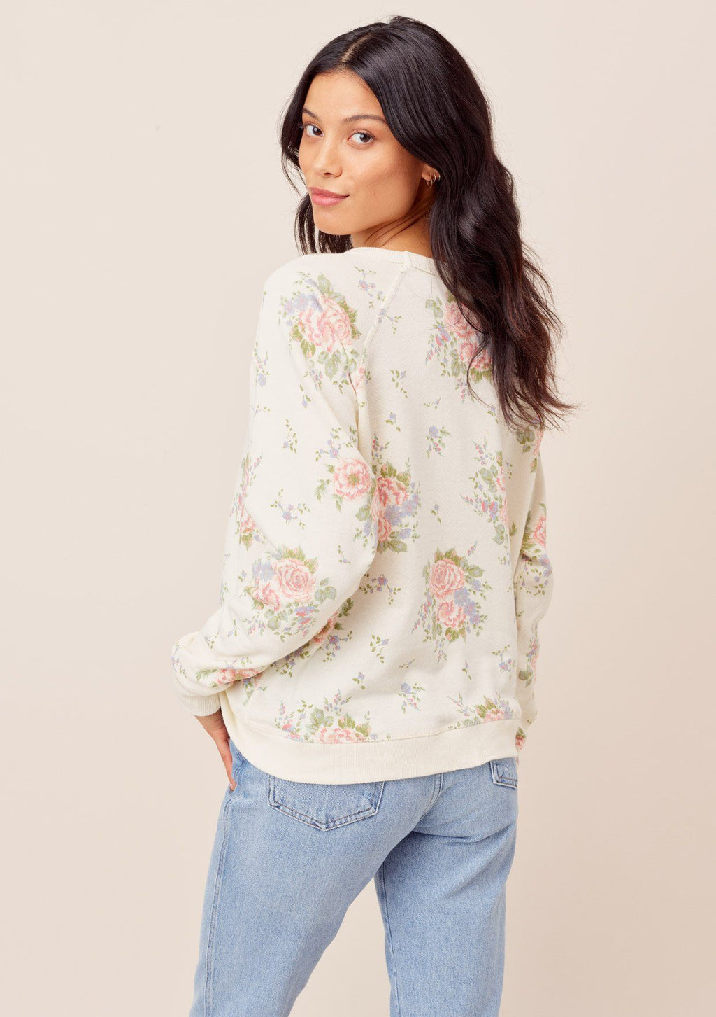 Floral Crew Neck Sweatshirt - honey