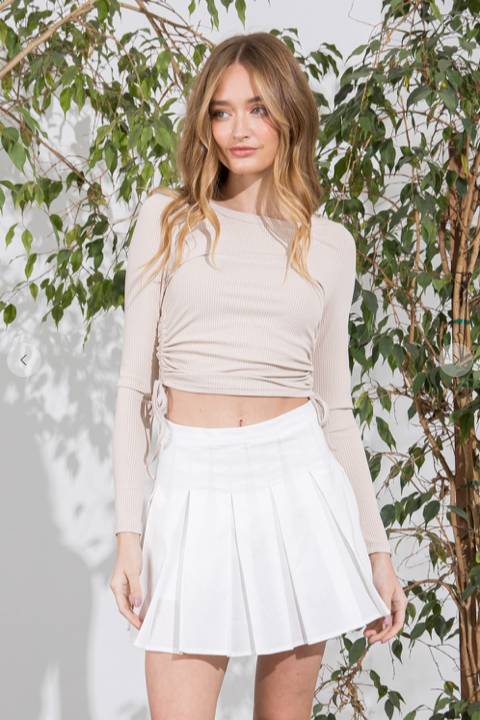 High Waist Tennis Skirt - honey