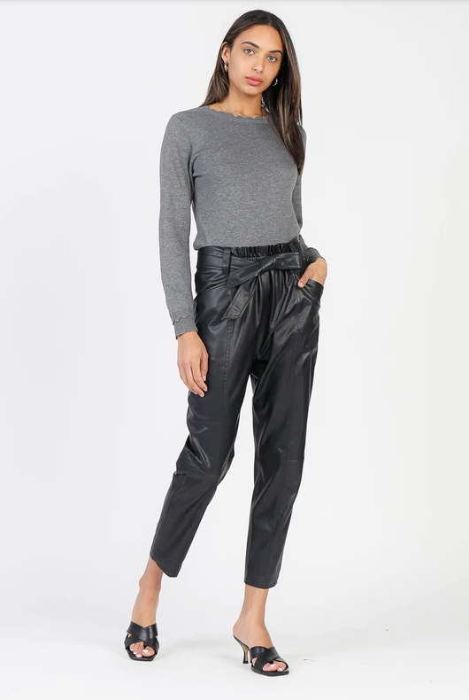Vegan Leather Cropped Belted Pant - honey