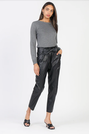 Vegan Leather Cropped Belted Pant