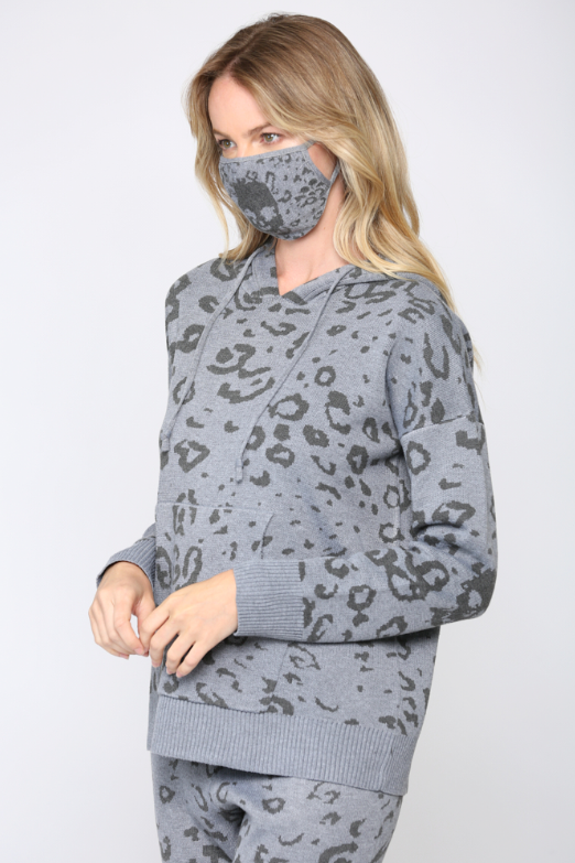 Leopard Skull Knit Hooded Sweater