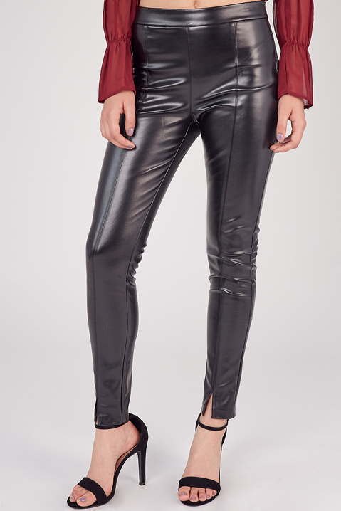 Front Slit Vegan Leather Pants