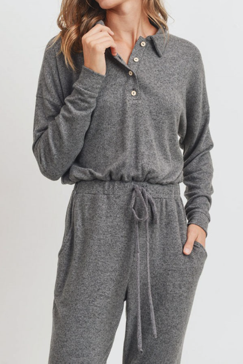 Aria Collared Henley Knit Jumpsuit - honey