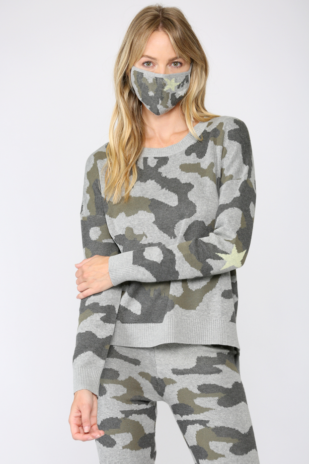 Camo Knit Crew Neck Sweater