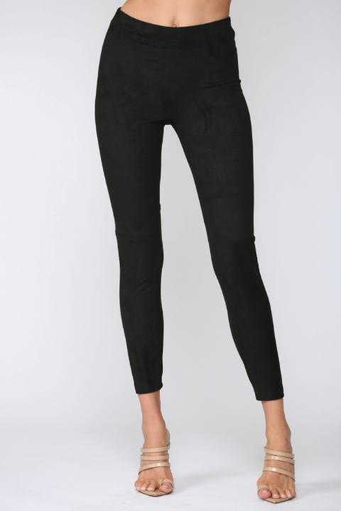 High Waist Faux Suede Leggings - honey