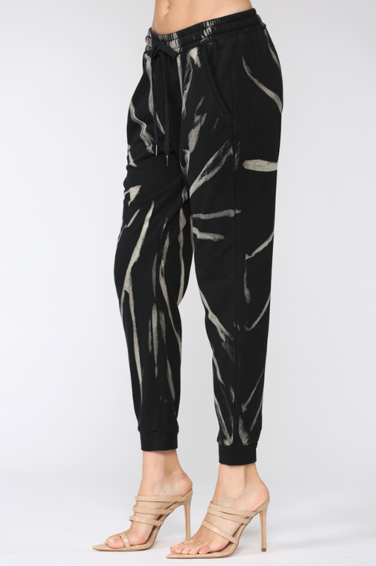 Spider Web Tie Dye Jogger Pants - honey