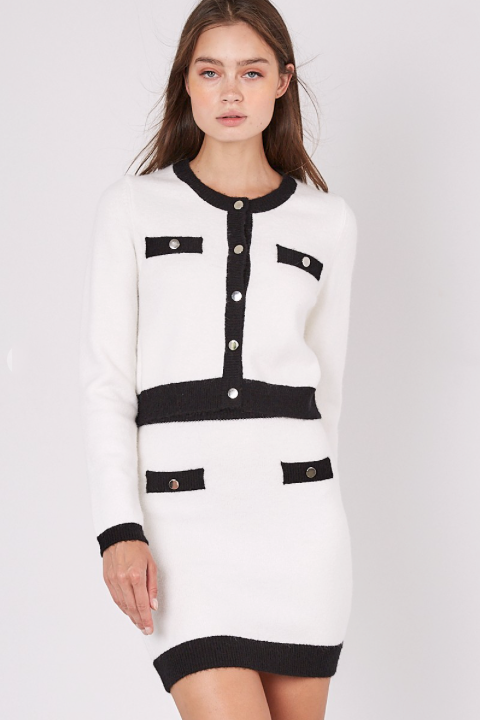 Camille Contrast Crop Button Cardigan