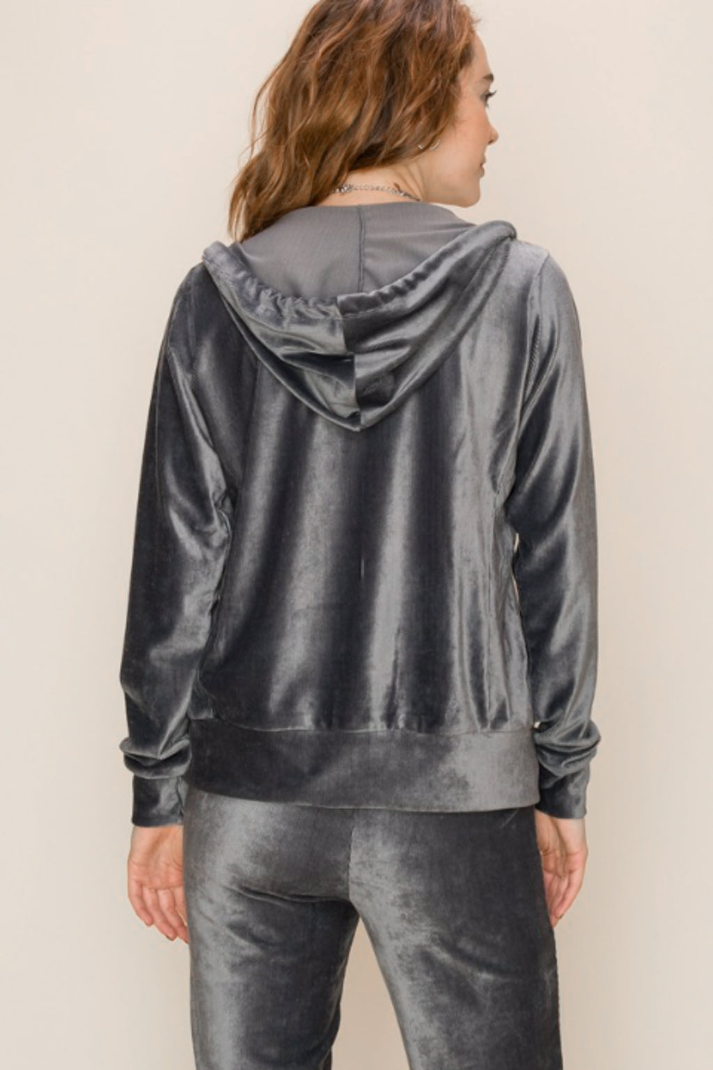 Ribbed Velour Zip Up Hoodie