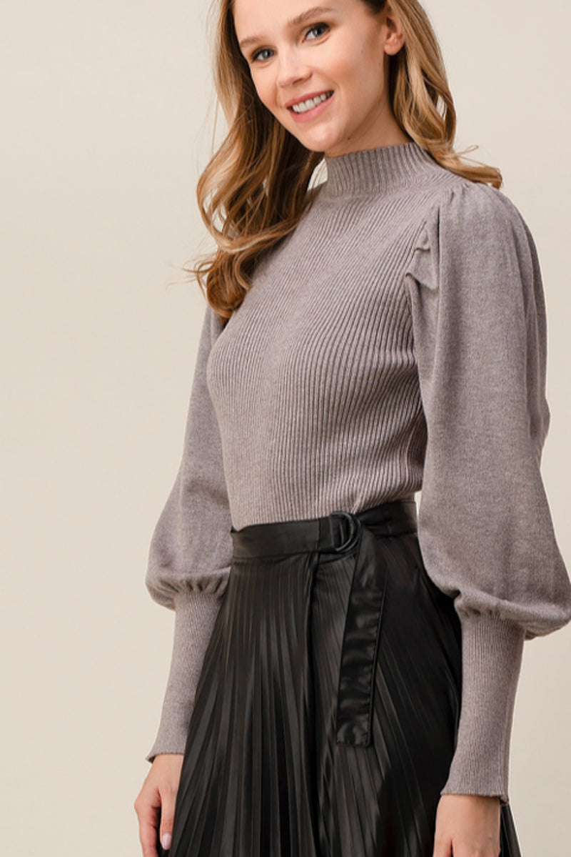 Kayla Ribbed Knit Puff Sleeve Sweater