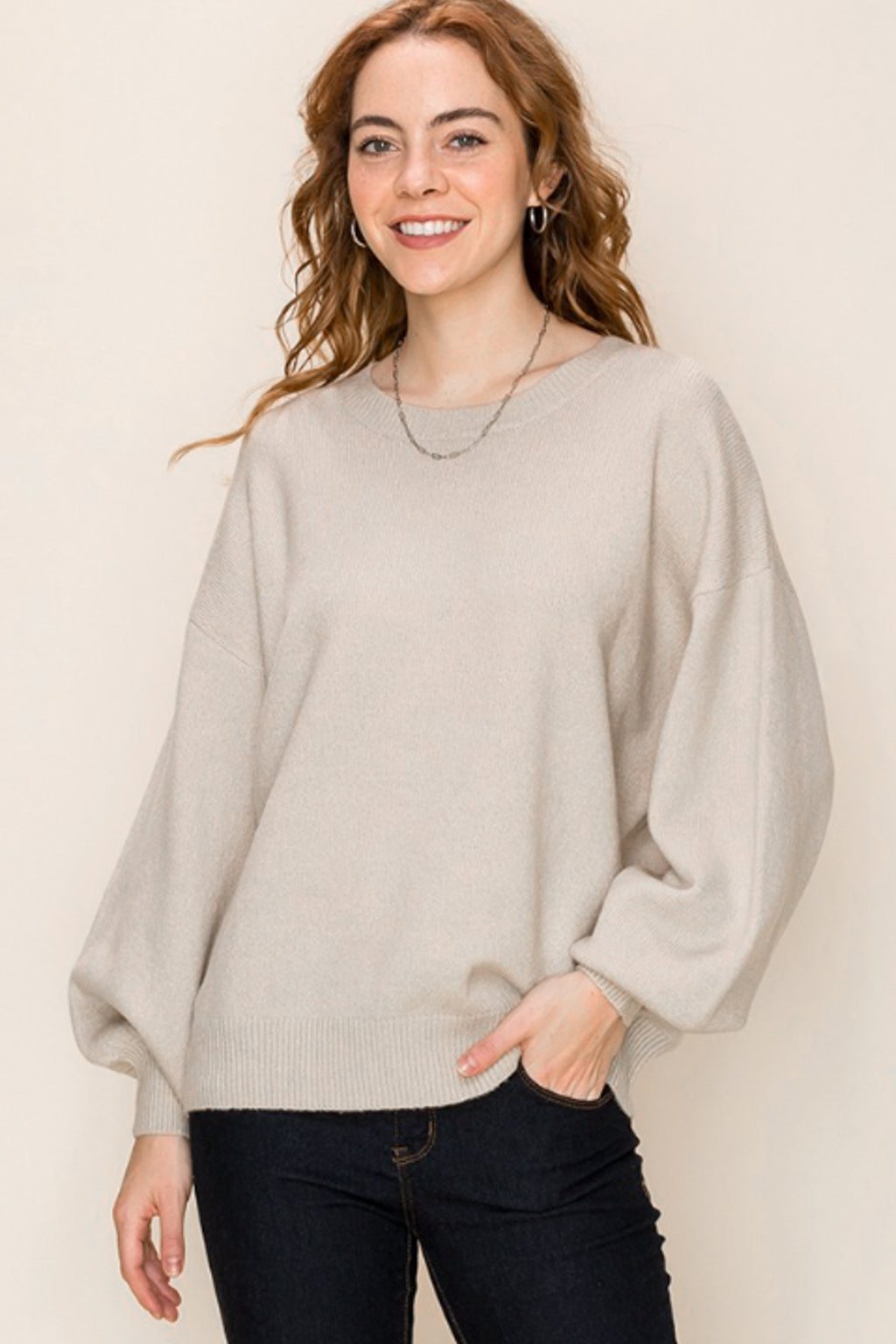 Ellie Crew Neck Knit Sweater - honey