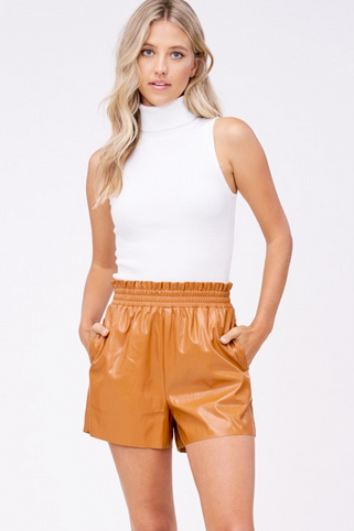 High Waisted Vegan Leather Shorts