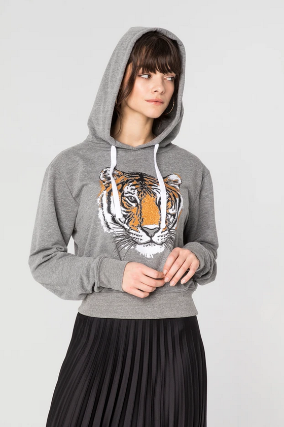 Cropped Tiger Print Pullover