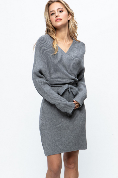 Laurie Tie Waist Sweater Dress - honey